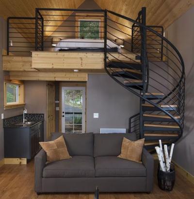 Cầu thang sắt bậc gỗ